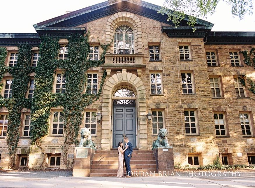 Summer engagement session at Princeton University nassau hall.