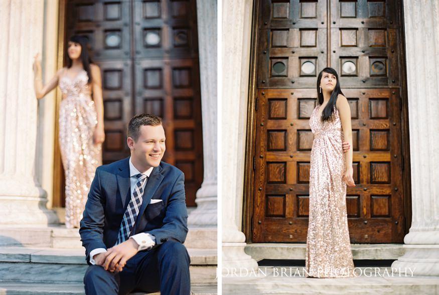 Princeton University engagement photos Whig and Clio Halls.