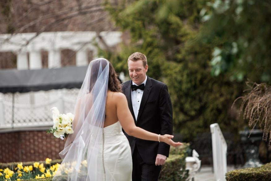 Bride and Groom first look at Spring Shadowbrook wedding.