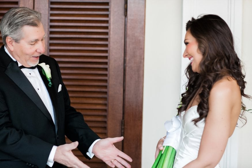 Father seeing daughter for the first time at Spring Shadowbrook wedding.