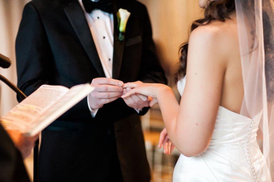 Indoor ceremony at Shadowbrook wedding.