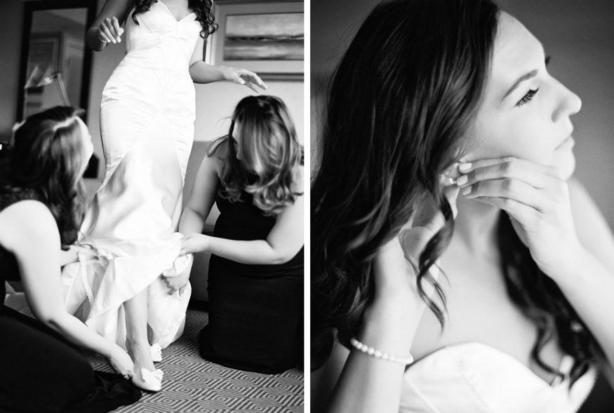 Bride getting dressed at Spring Shadowbrook wedding.