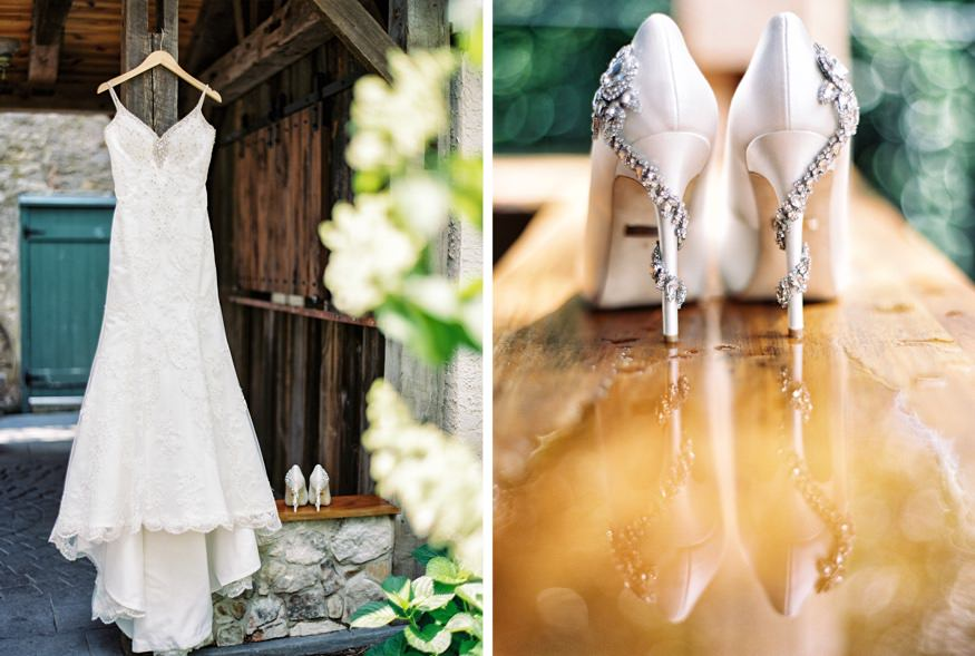 Bride's dress from Philadelphia Bridal Company and wedding shoes from