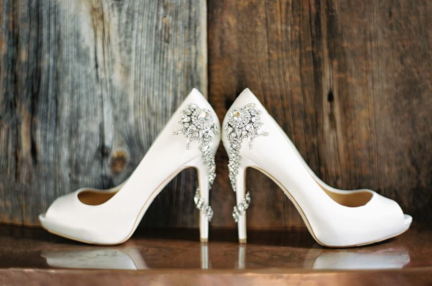 Bride's wedding shoes.