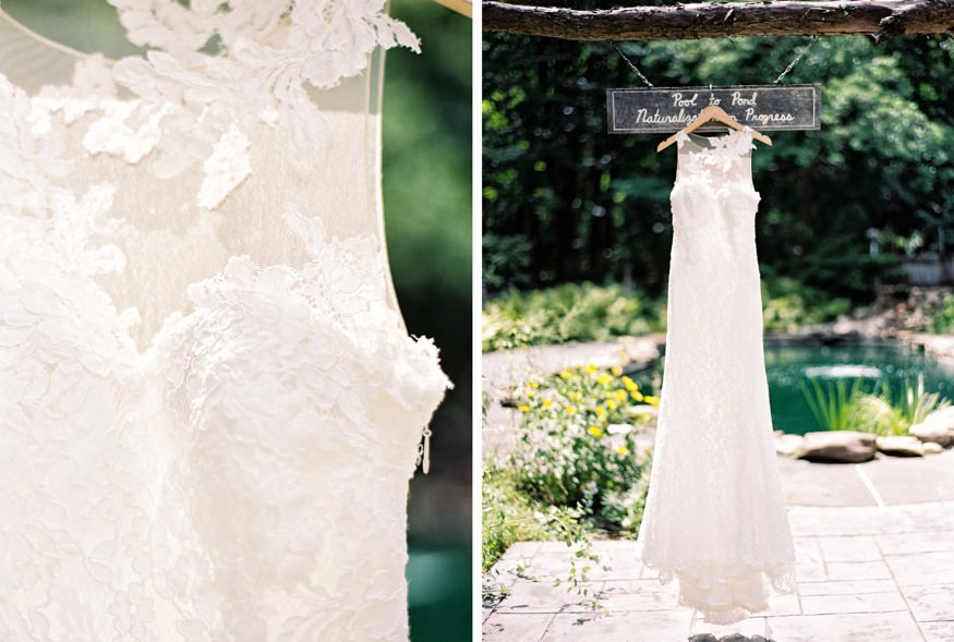 Bride's wedding dress by Pronovias from Philadelphia Brial Company having at HollyHedge Estate