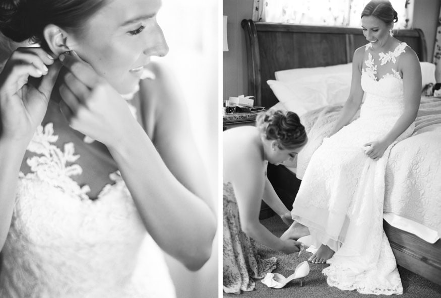 Bride getting ready before HollyHedge Wedding ceremony in bridal suite.
