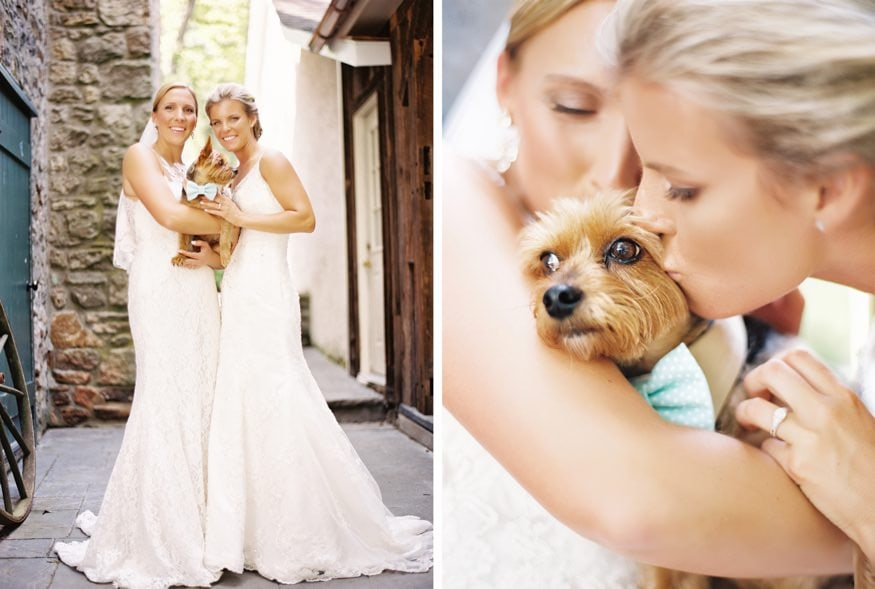Holly Hedge same sex wedding portraits with couples dog.