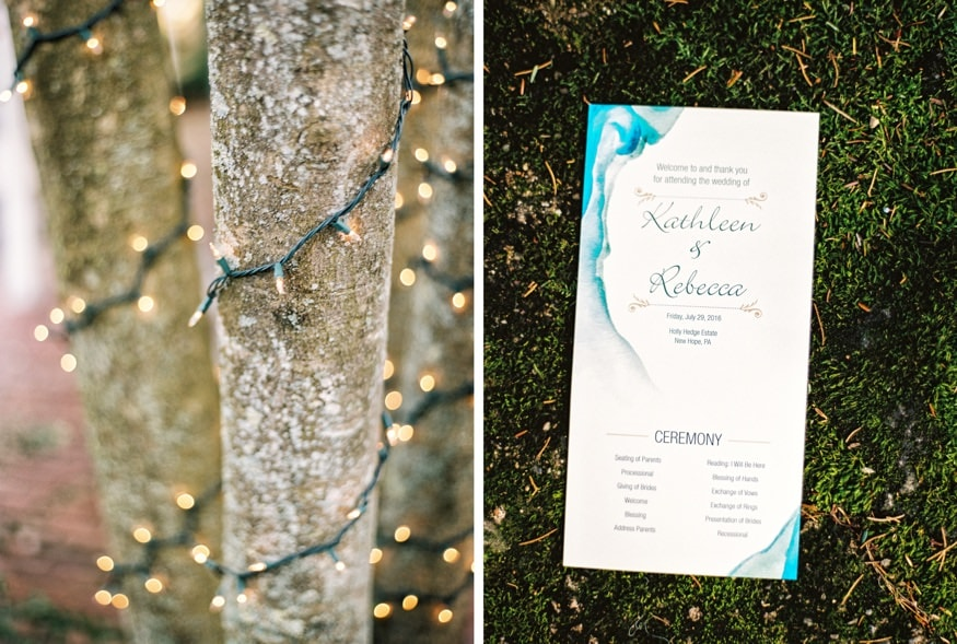 Reception details at Holly Hedge same-sex wedding.