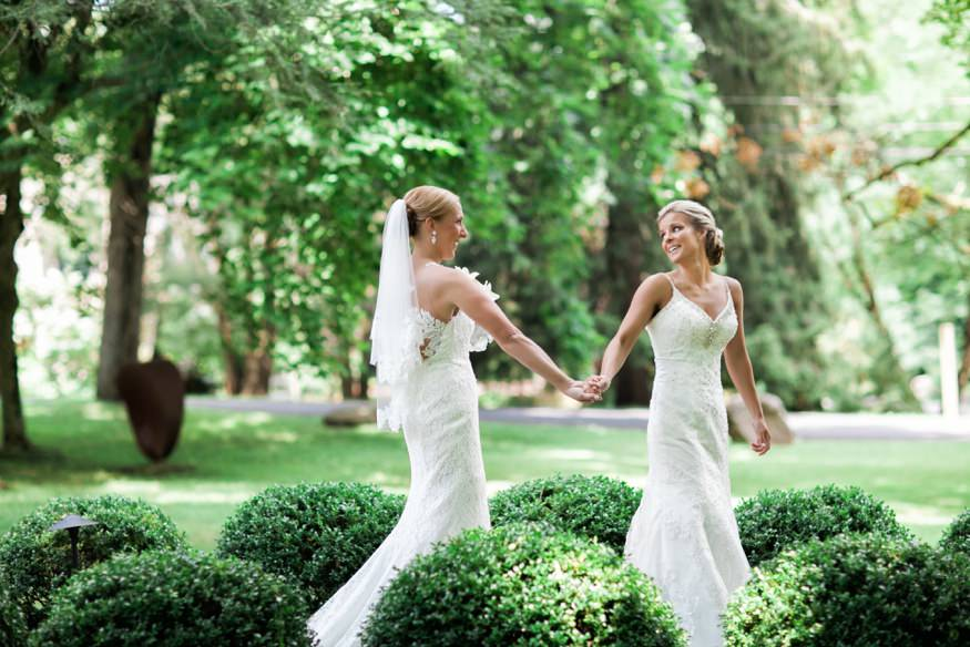 First look at HollyHedge same sex wedding.