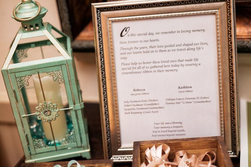 Reception details at Holly Hedge same sex wedding.