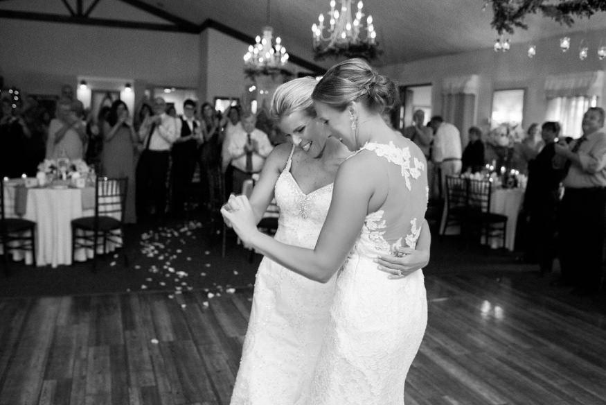 Brides' first dance at Holly Hedge same sex wedding.