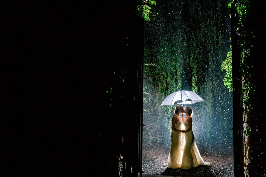 Night portraits at Holly Hedge summer wedding in the rain.