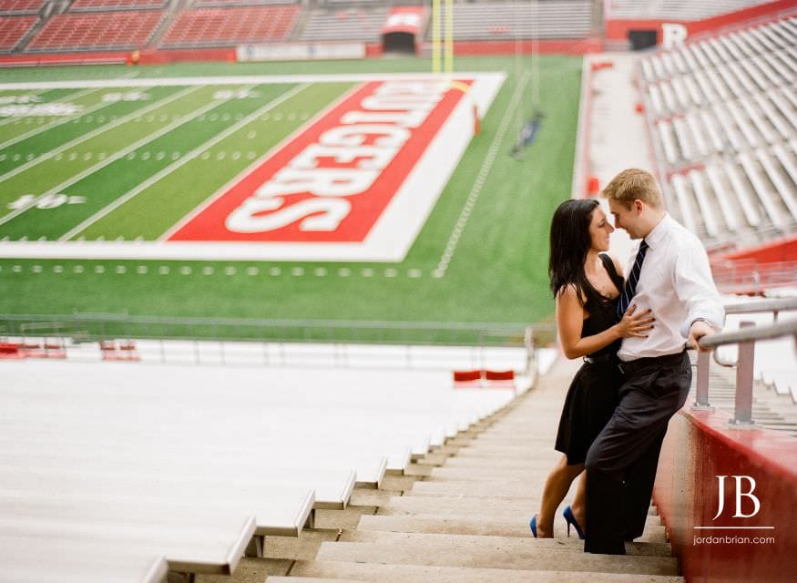 Rutgers university engagement session new brunswick football field couple together