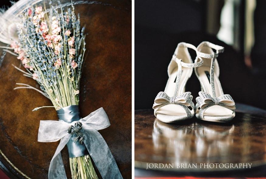 Bride's dry flower bouquet and shoe details