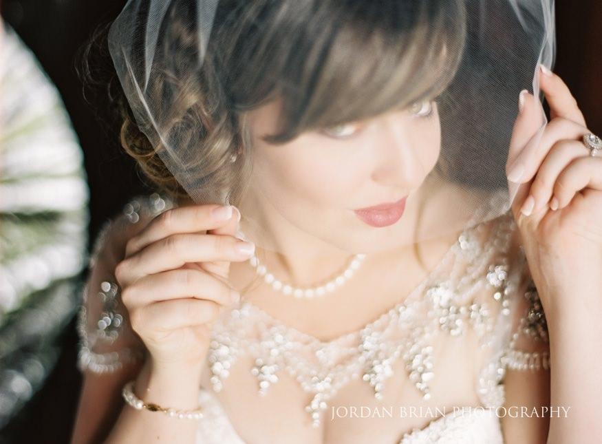 Bride with vintage veil portrait