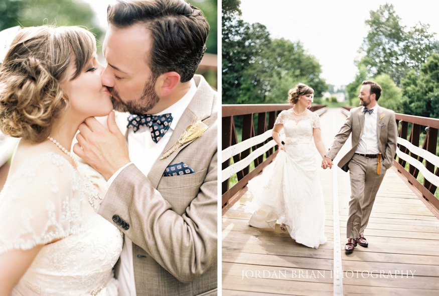 Bride and groom kiss at Laurel Creek Wedding