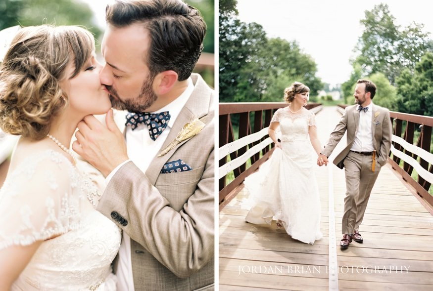 Bride and groom kiss at Laurel Creek Wedding