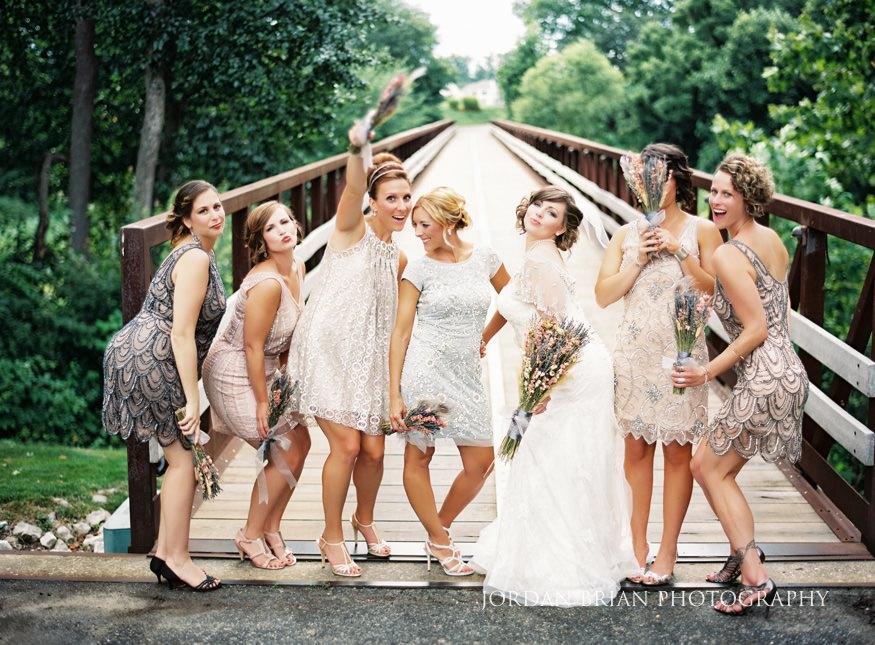 Bridesmaids in vintage mis-matched dresses