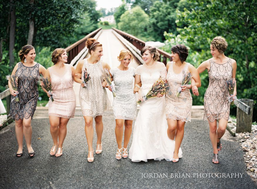 Bridesmaids in vintage mis-matched dresses