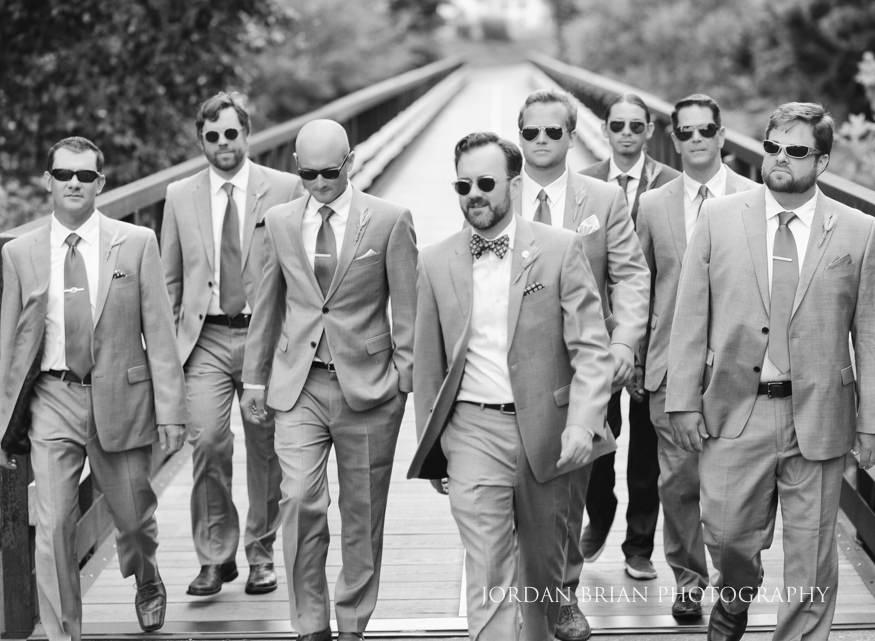 Black and white film portrait of groomsmen