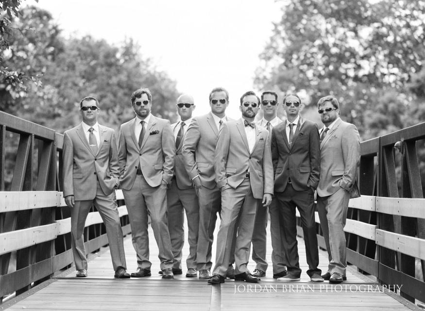 Black and white film portrait of groomsmen at Laurel Creek Country Club