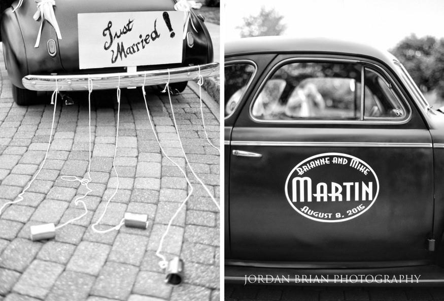 Vintage car for wedding at Laurel Creek