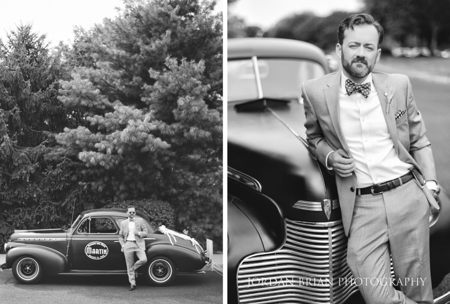 Groom with vintage car at Laurel Creek Country Club Wedding