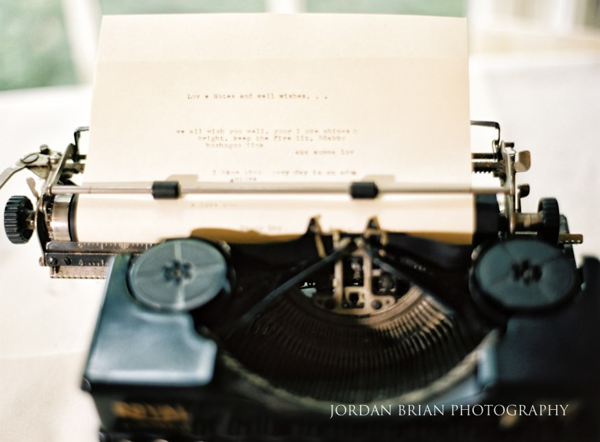 Vintage typewriter wedding details