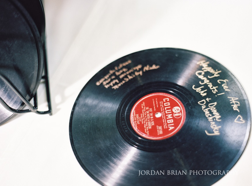 Vintage records at Laurel Creek Country Club wedding reception