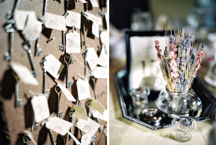 Wedding reception vintage details at Laurel Creek Country Club
