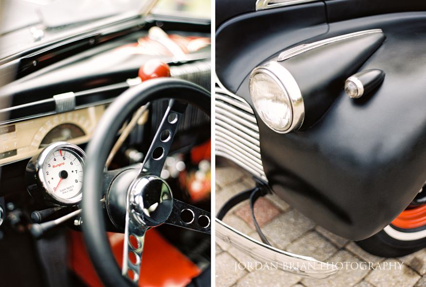 Vintage car details for wedding at Laurel Creek