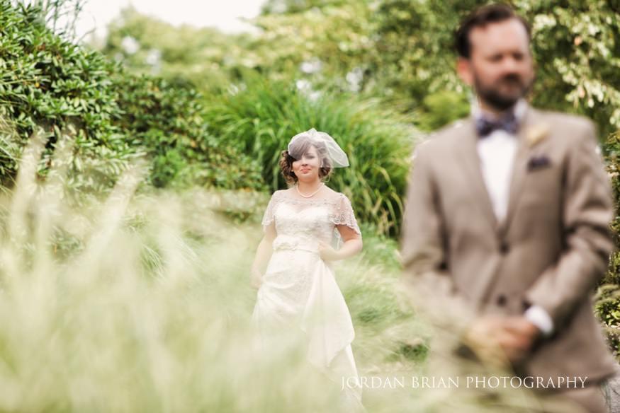 Bride and groom first look at Laurel Creek Country Club