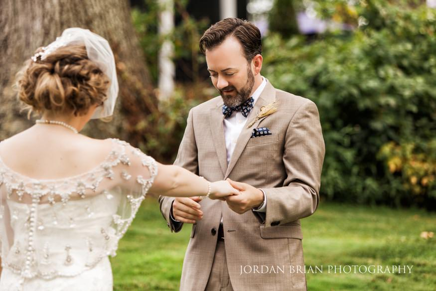 Groom seeing bride for first time at Laurel Creek Country Club Wedding