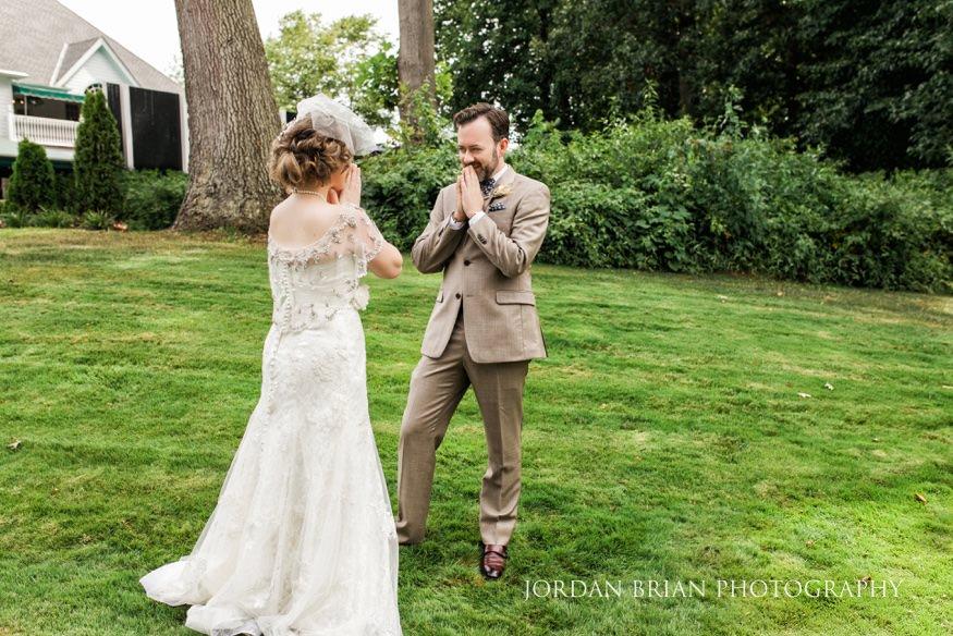 Bride and groom first look at laurel creek wedding