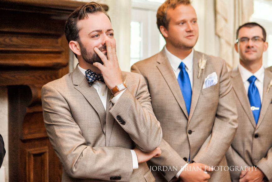 Groom seeing bride walk down aisle at Laurel Creek Wedding