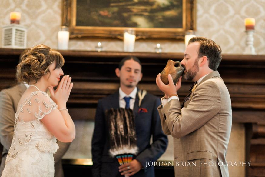 Indoor wedding ceremony at Laurel Creek Country Club