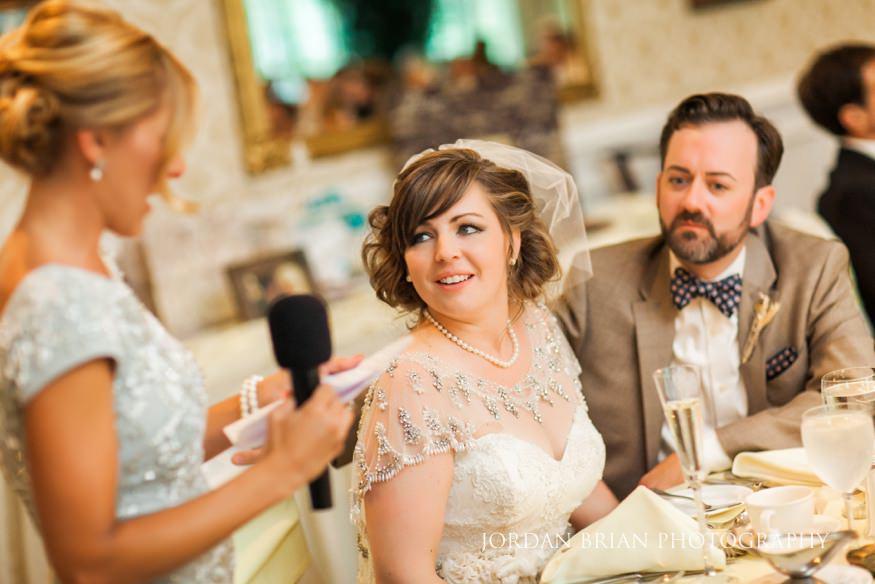 Maid of Honor toast at wedding reception