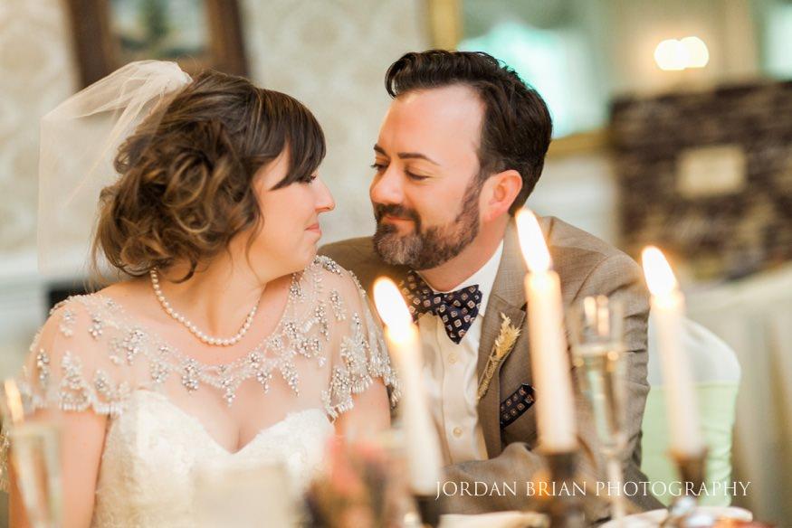 Bride and groom at wedding reception at Laurel Creek
