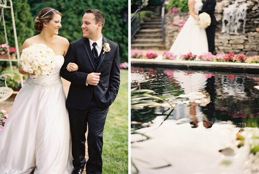 park savoy estate wedding bride and groom portraits by pond