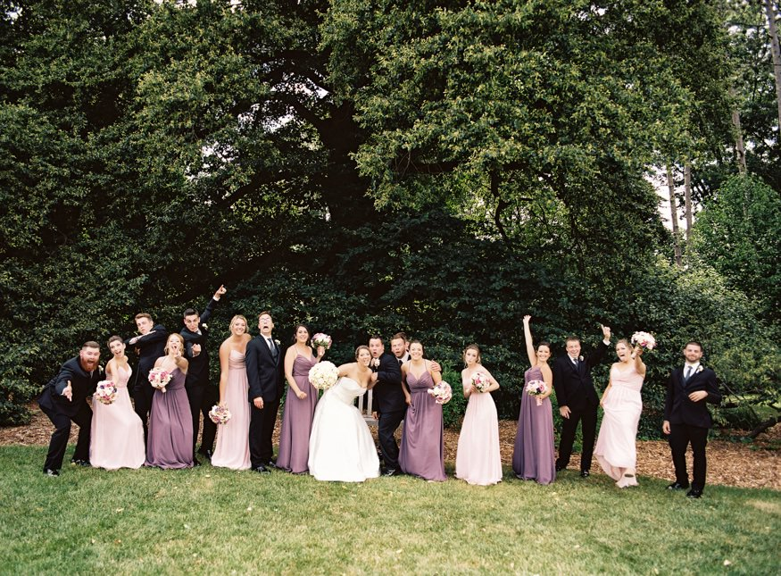Bridal party wedding portraits at Frelinghuysen Arboretum.
