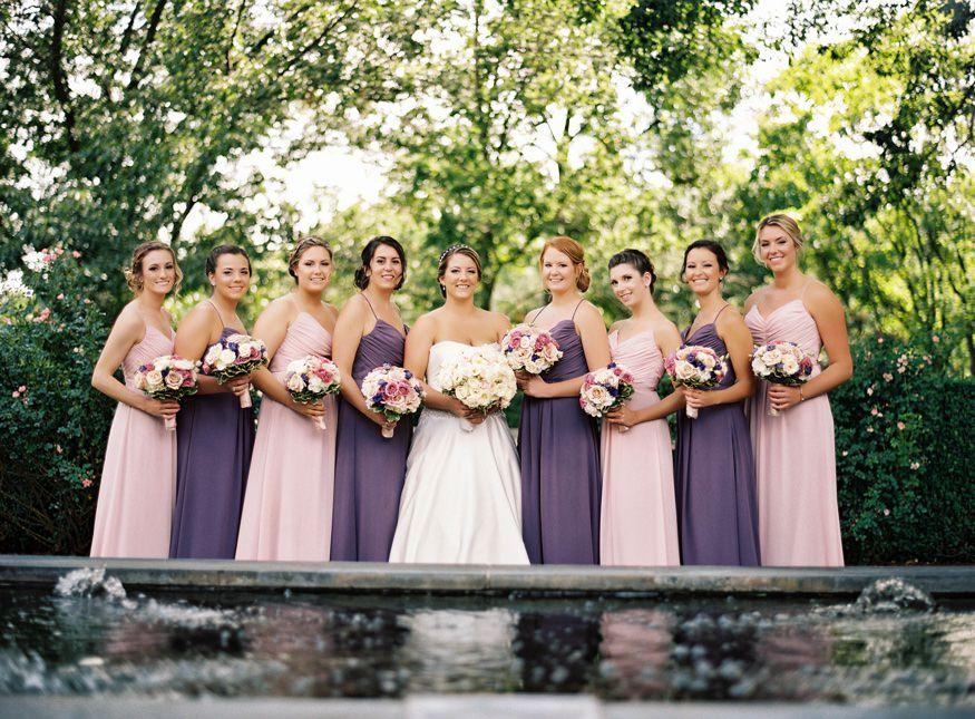 Bridesmaids wedding portraits at Frelinghuysen Arboretum.