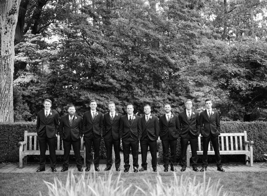 Groomsmen's portraits at Frelinghuysen Arboretum wedding photos.