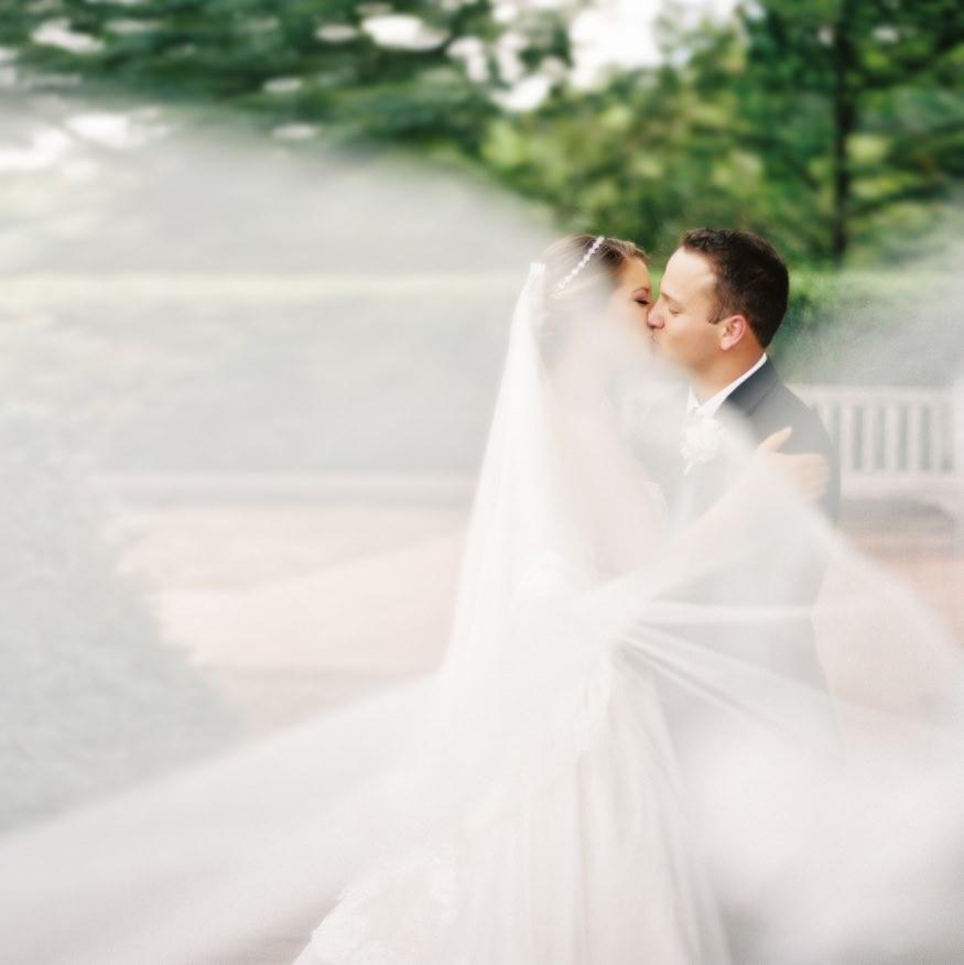 Bride and groom wedding portraits at Frelinghuysen Arboretum.