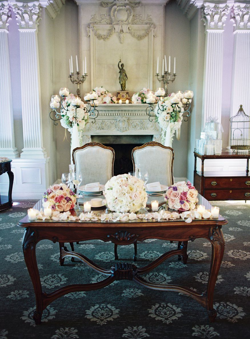 park savoy estate wedding reception sweetheart table