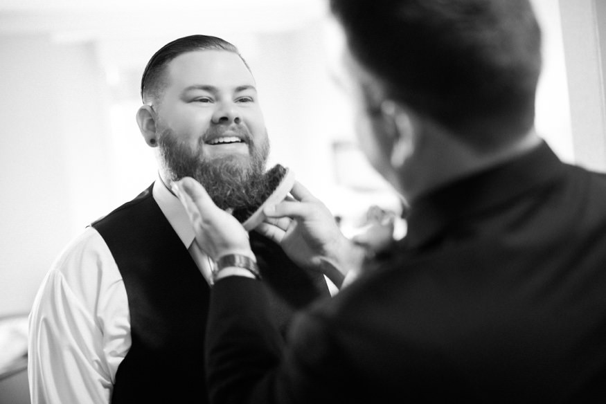 Groom getting ready at the Westin Governor Morris hotel before wedding at Park Savoy.