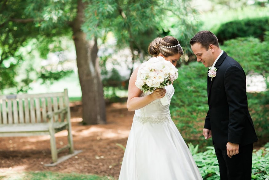 Bride and groom first meet at Westin Governnor Morris Hotel before summer wedding at Park Savoy.
