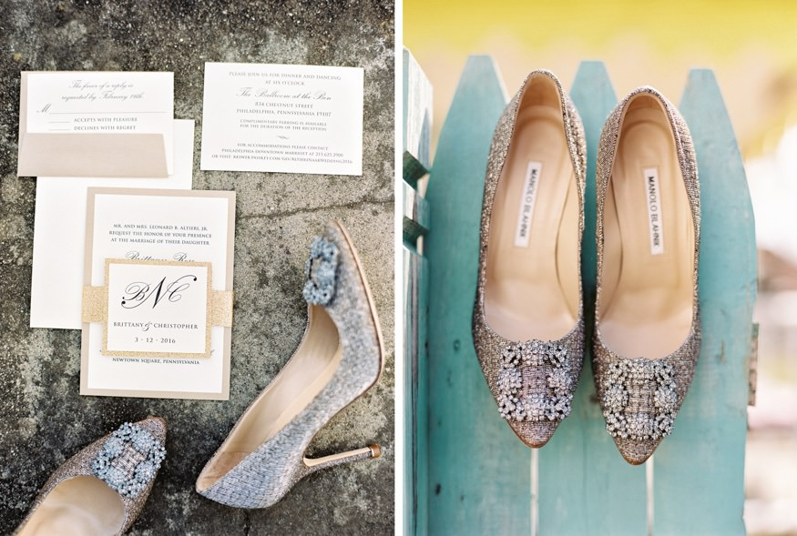 Bride's wedding shoes from Manolo Blahnik