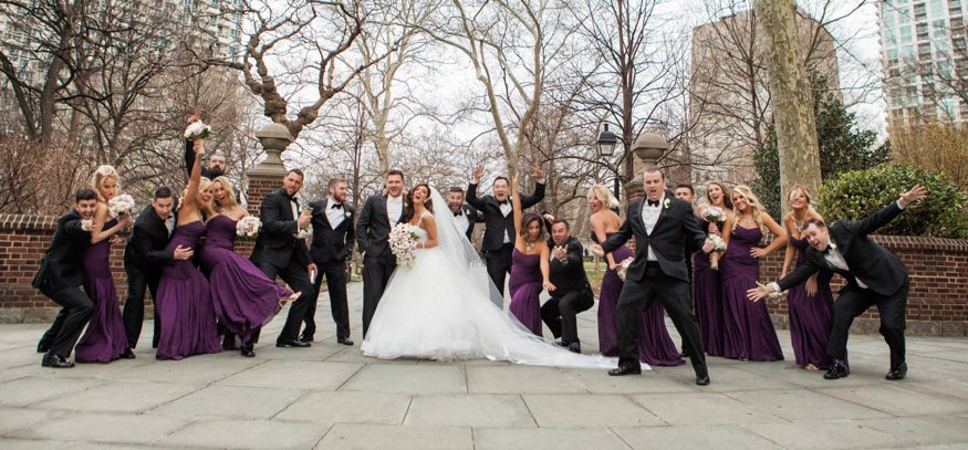 Bridal party at Washington Square park before Ballroom at the Ben wedding.