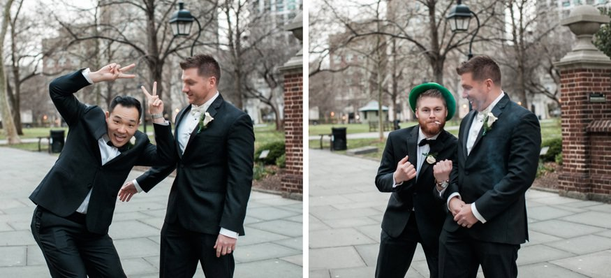 Groomsmen at Washington Square park in Philadelphia.