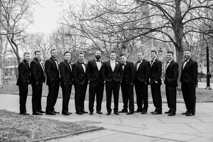 Groomsmen at Washington Square park before Ballroom at the Ben wedding.